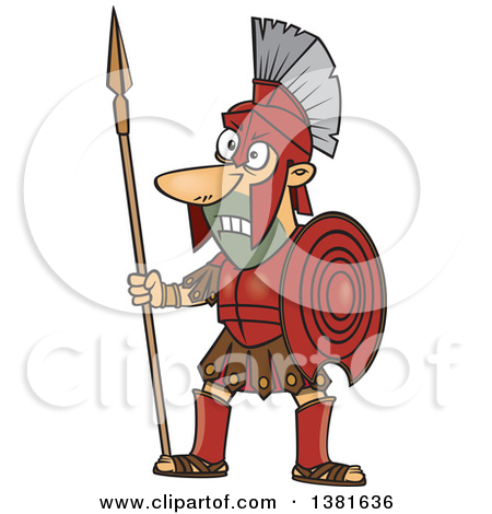 Clipart of a Cartoon Greek God of War, Ares, in Full Armor.