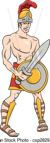 EPS Vectors of greek god ares cartoon illustration.