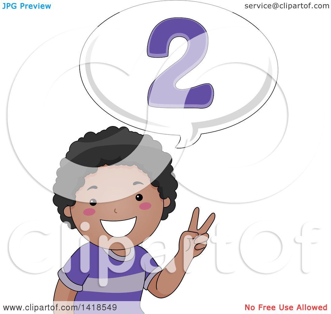 Clipart of a Happy African School Boy Counting and Saying 2.