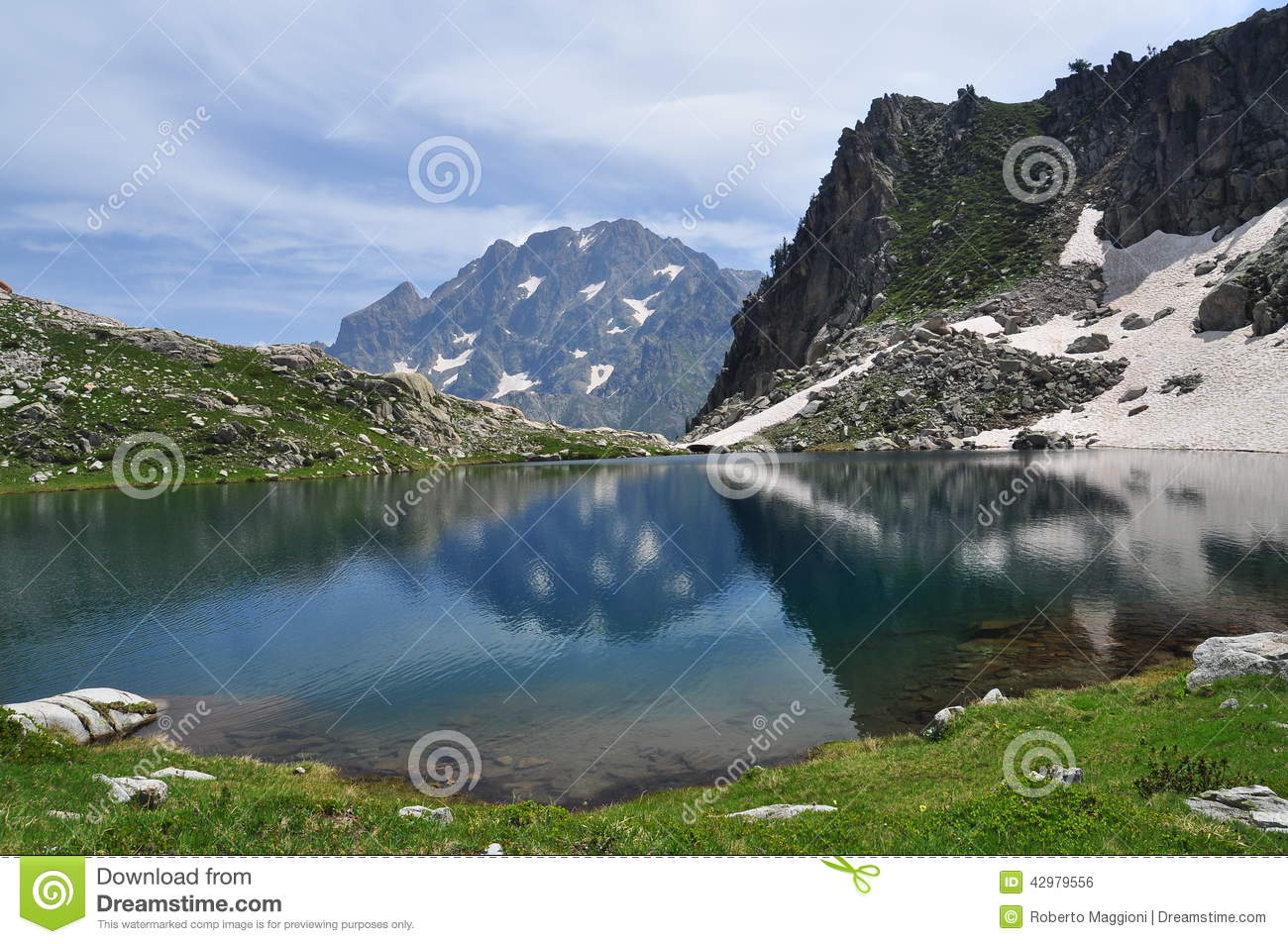 Maritime Alps, Italy. Mountain Lake And Argentera Stock Photo.