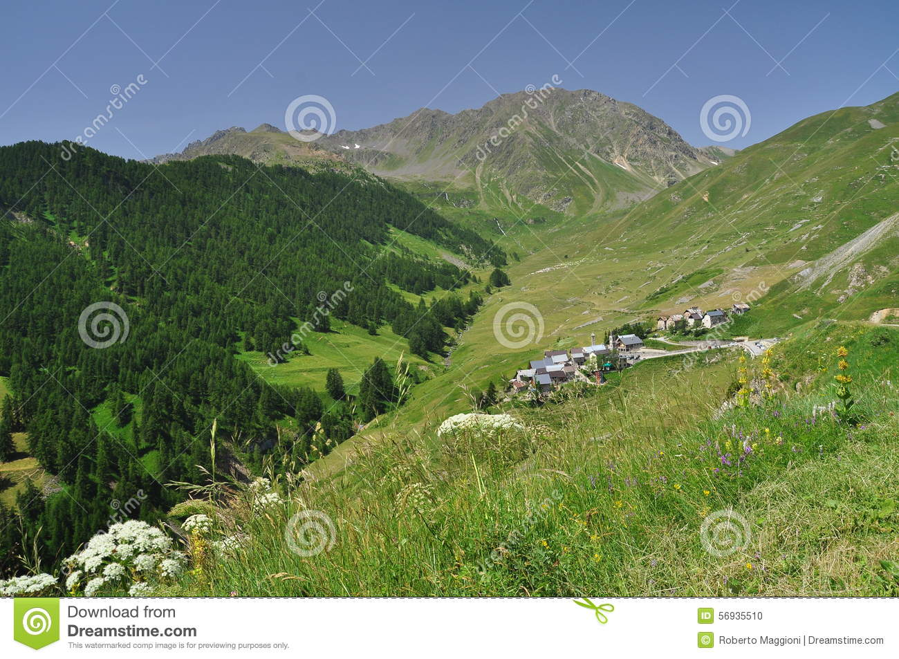Mountain Village Of Ferrere Argentera, Valle Stura, Cuneo Stock.
