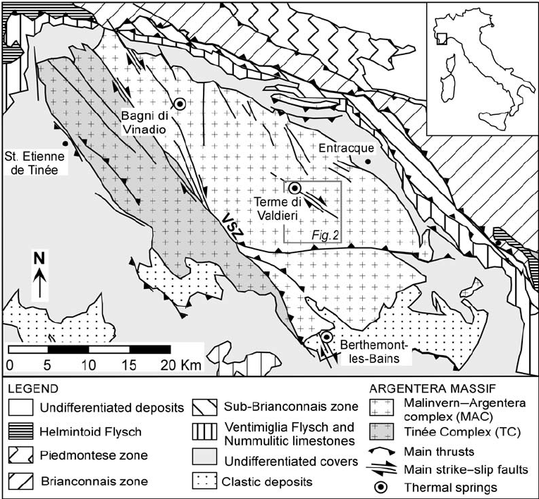 Sketch map of the Argentera Massif and adjoining regions. VSZ.