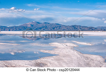 Stock Photo of Salinas Grandes on Argentina Andes is a salt desert.