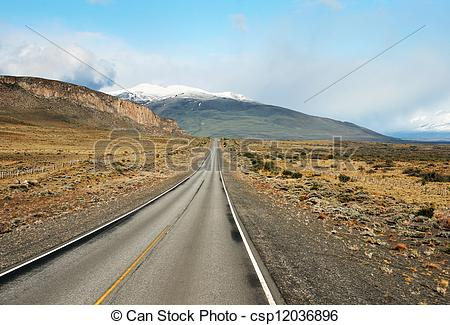 Stock Photographs of Desert highway at Patagonia, south of.