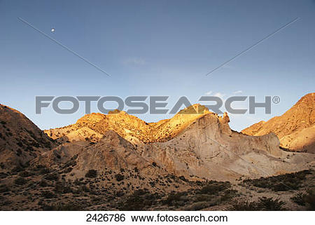 Stock Images of Desert mountains at sunset; Mendoza, Argentina.