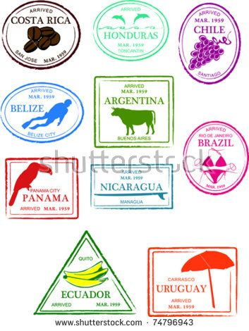 Retro Central and South America Set of Fun Country Passport.