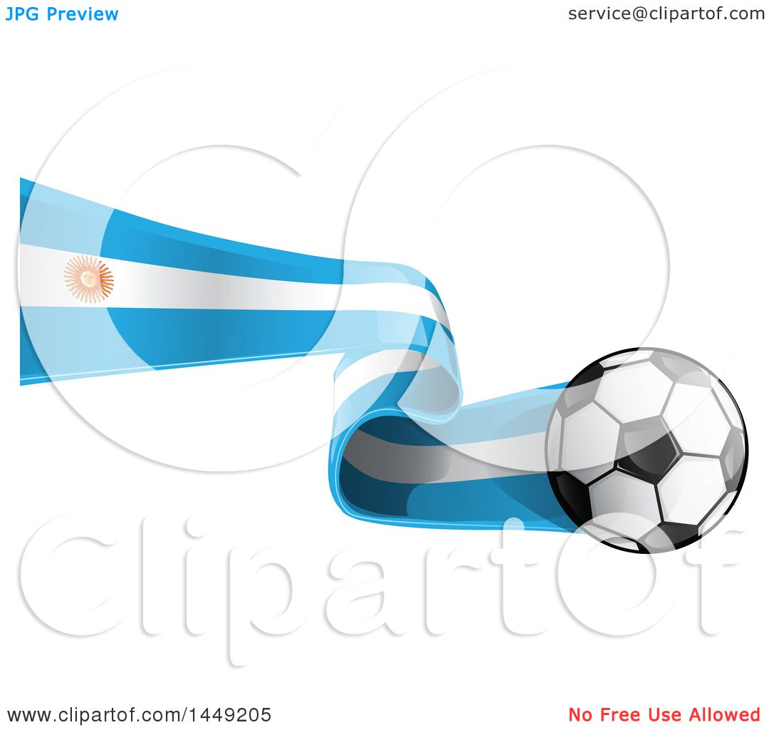 Clipart Graphic of a Soccer Ball and Argentine Flag Ribbon.