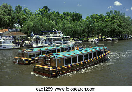Stock Photograph of RIVER BOATS are used for transport in TIGRE a.