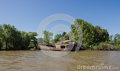 Sunken Boat On The River Plate Delta, Argentina Stock Photo.