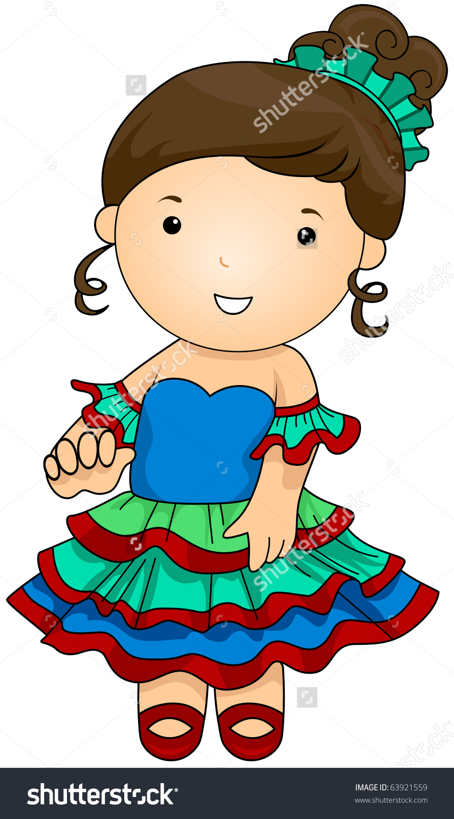 Illustration Woman Dressed Argentinian Costume Stock Vector.