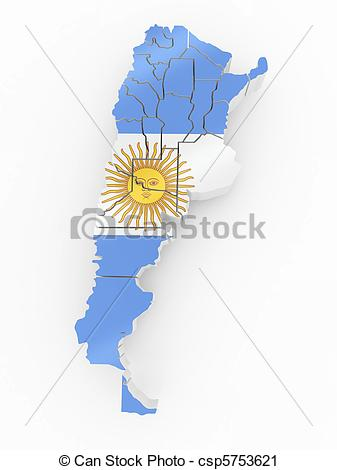 Clipart of Map of Argentina in Argentinian flag colors. 3d.