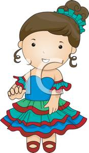 Cute Girl In an Argentina Style Costume.