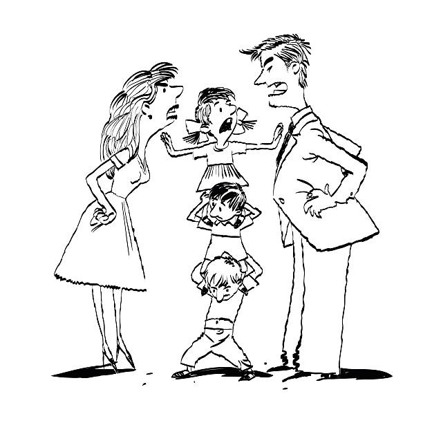 Fighting Family Clipart Black And White.