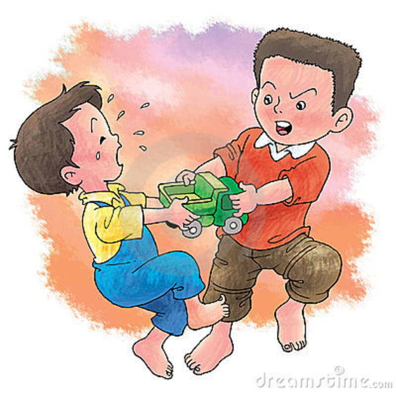 Two brothers fighting clipart.