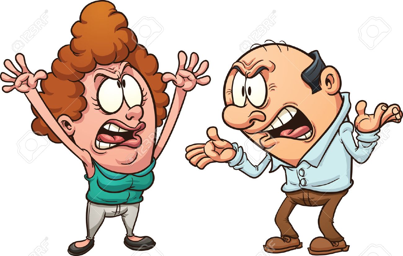 Couple arguing. Vector clip art illustration with simple gradients.