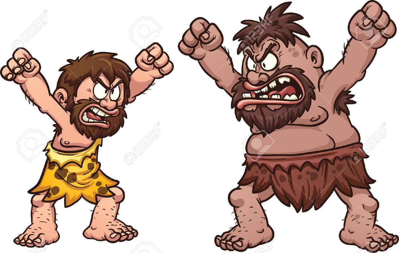 A couple of cavemen arguing. Vector clip art illustration with...