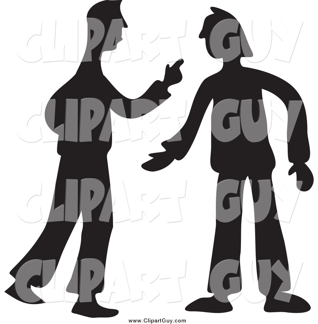 Clip Art of Black Silhouetted Two Men Arguing by Prawny.