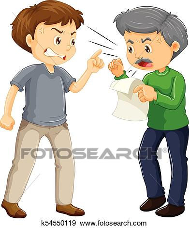 Two angry men arguing Clip Art.