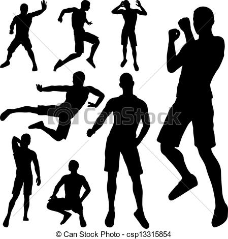 Clipart Vector of man fighting silhouette on white background.