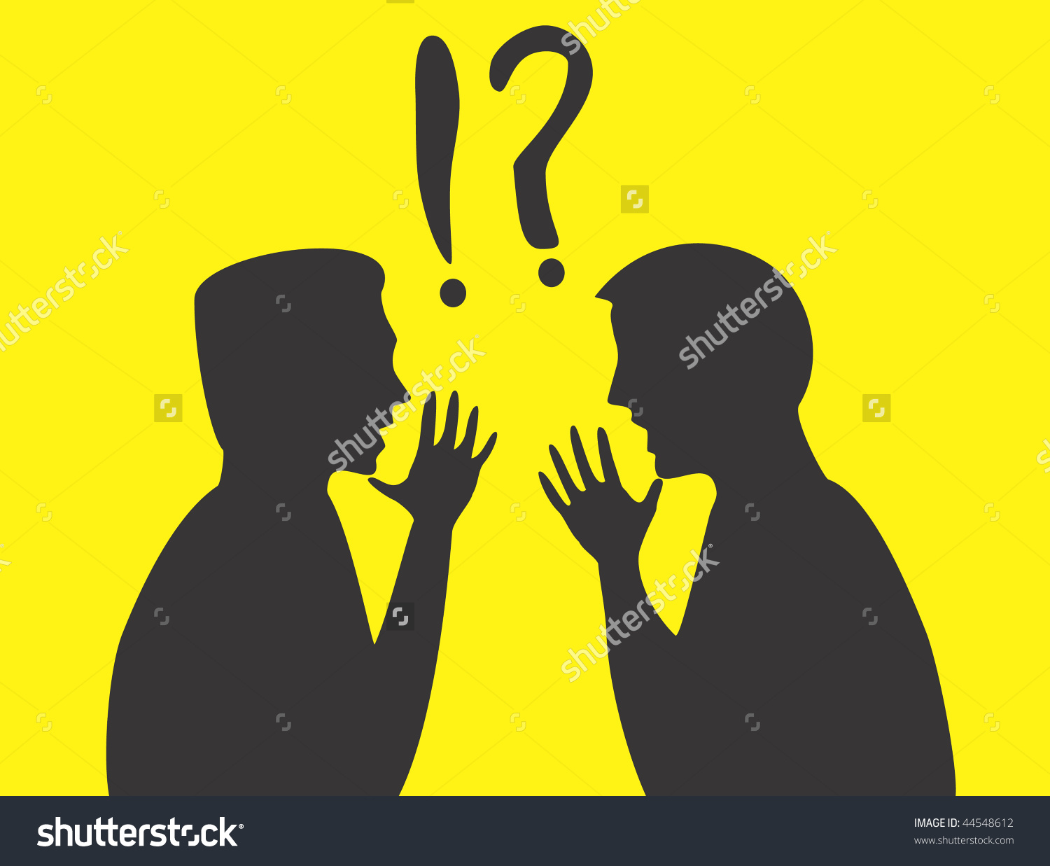 Silhouettes Two Arguing Men Stock Vector 44548612.