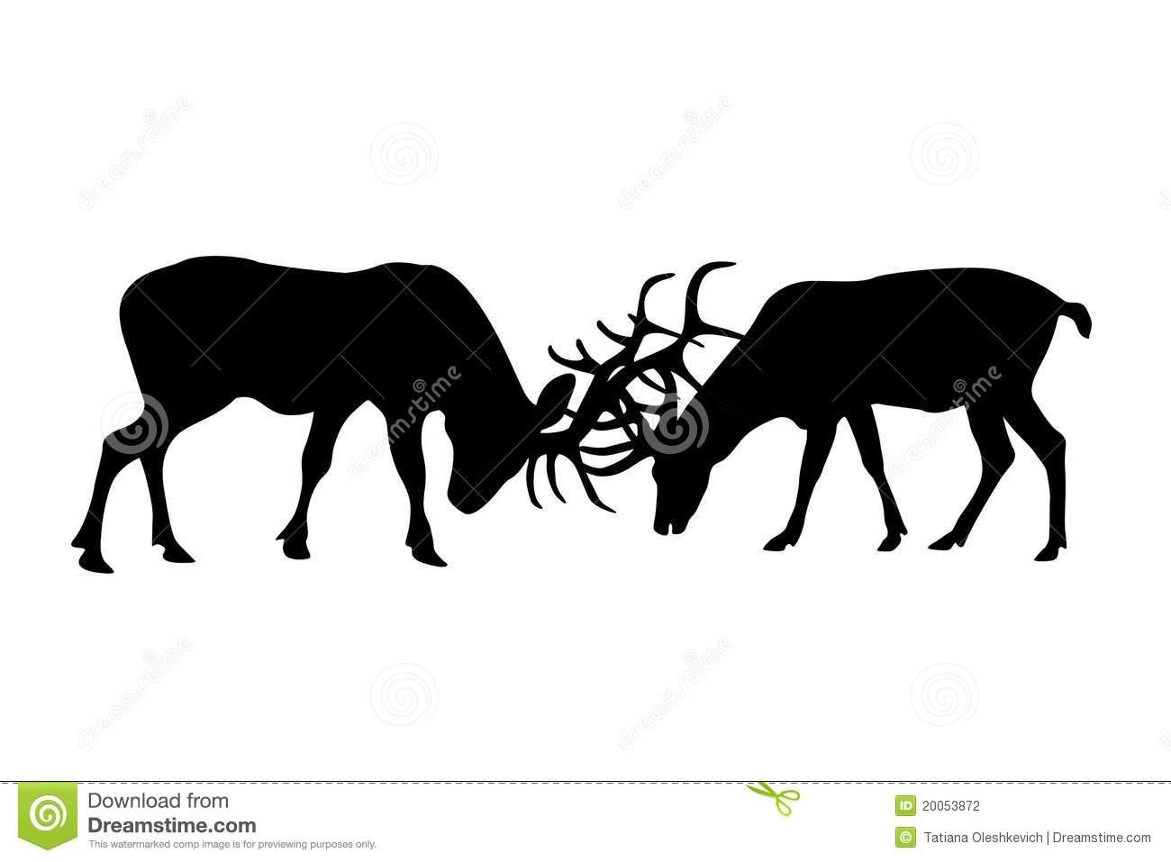Crop Elk Fighting Silhouette Clipart.