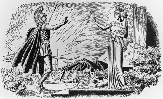 Odysseus bids farewell to his wife Penelope and infant son.