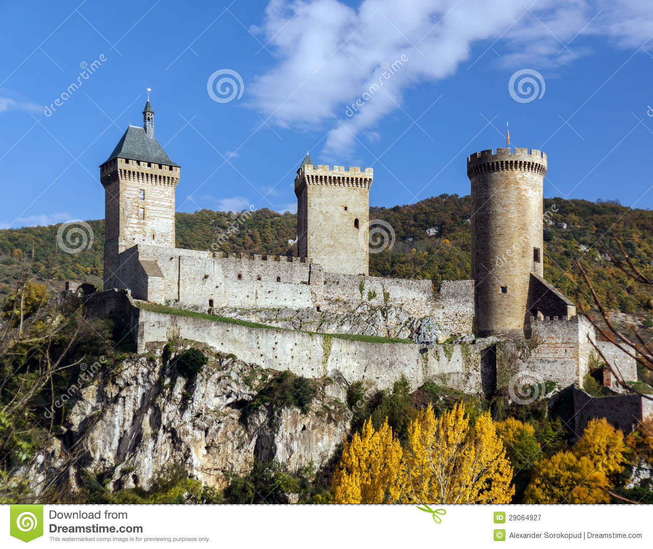 Old Medieval Castle In Foix, Ariege Royalty Free Stock Photography.