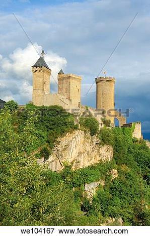 Picture of Chateau de Foix castle, Foix, Cathar Country, Ariege.