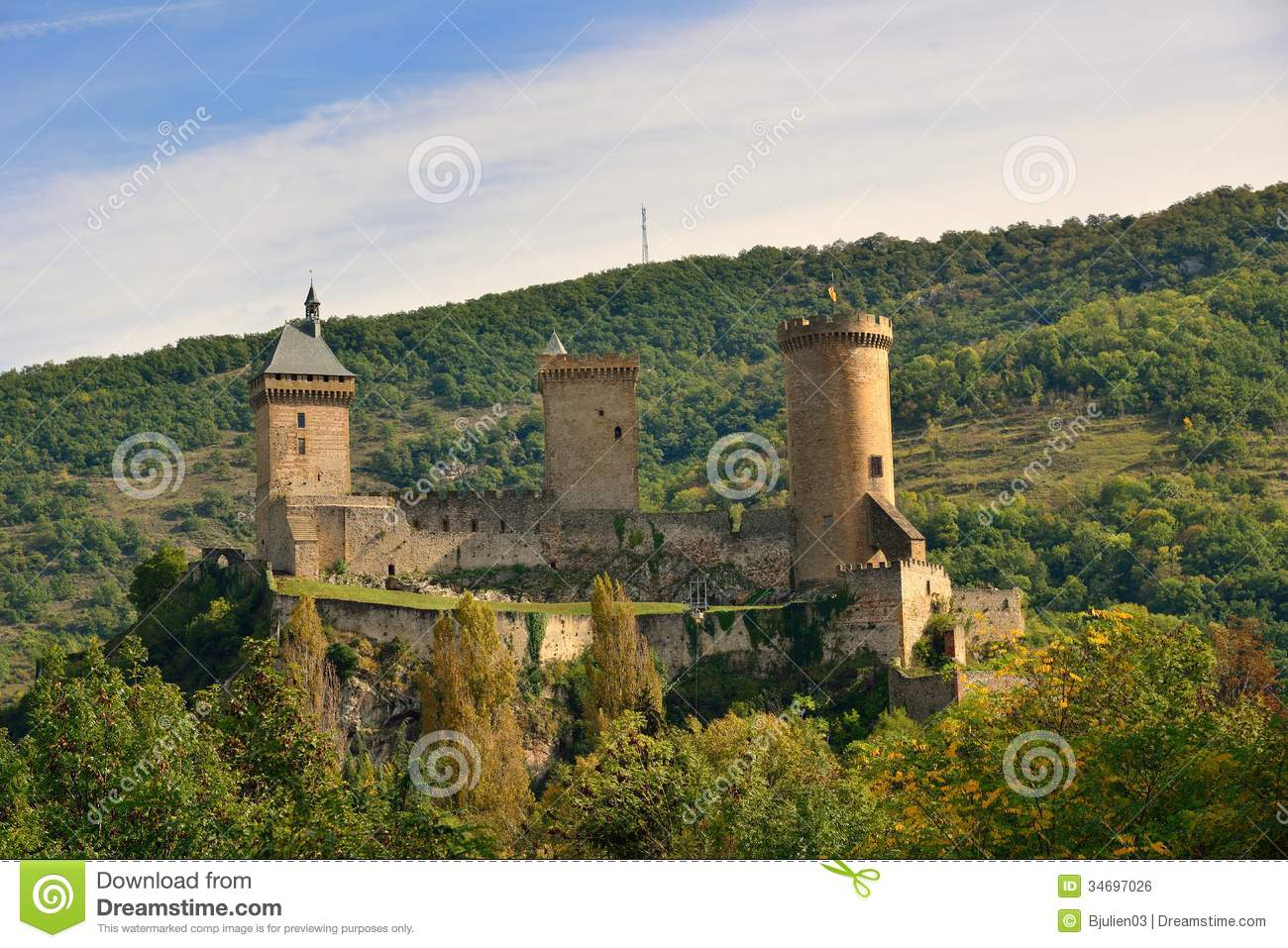 The Foix Castle In The Ariege Pyrenees Royalty Free Stock Image.