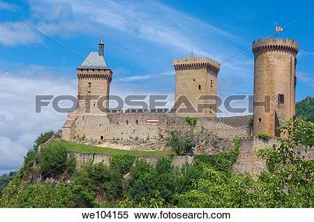 Stock Image of Chateau de Foix castle, Foix, Cathar Country.