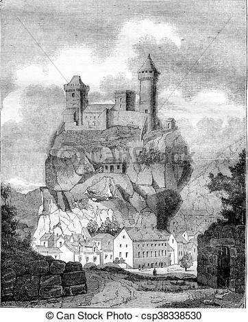 Drawings of The Chateau de Foix, the department of Ariege, vintage.