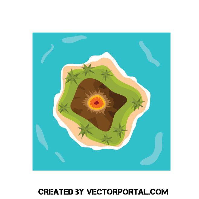 Island with volcano vector clip art in 2019.