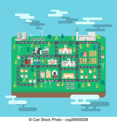 Vectors of Aerial view city map on an island illustration vector.