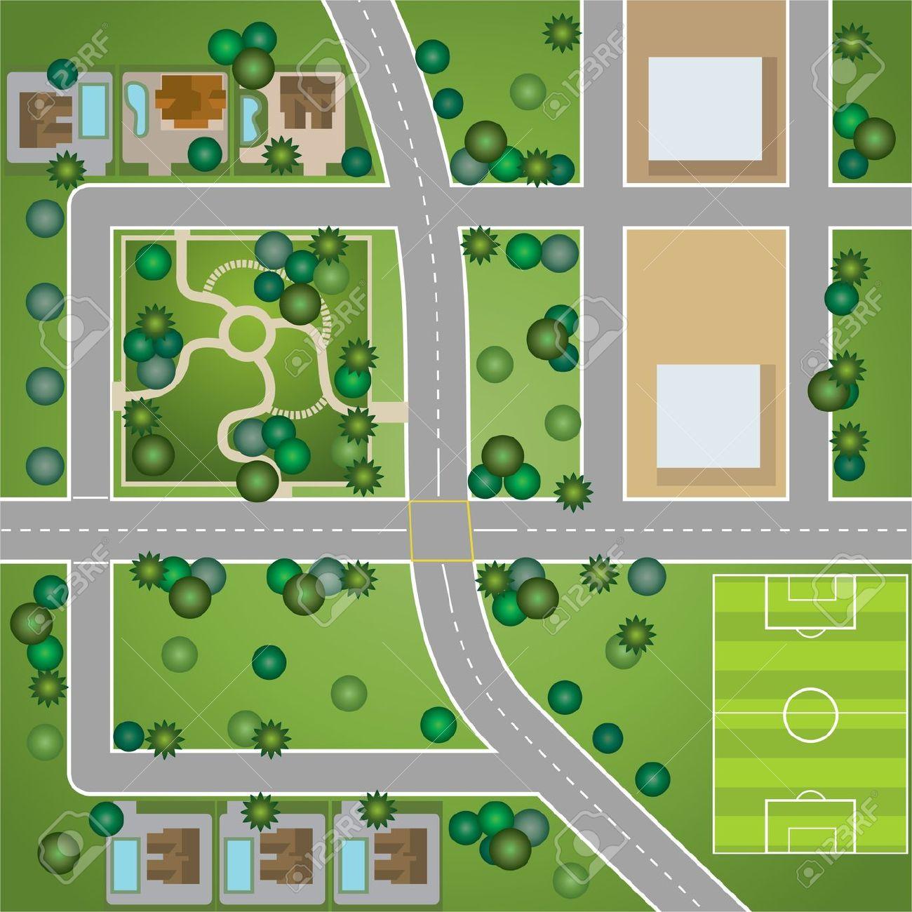 Aerial View Road Clip Art.