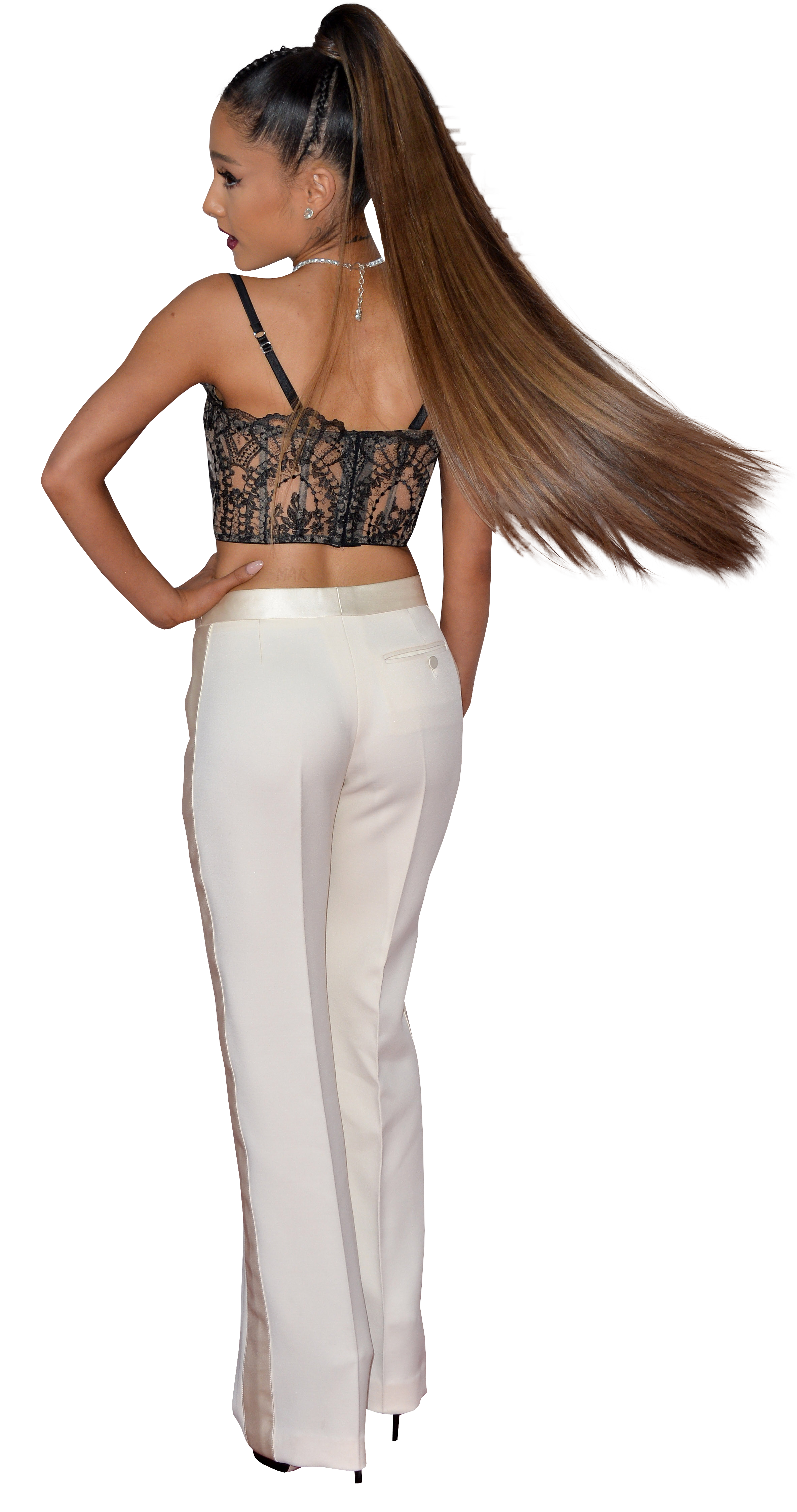 Ariana Grande in white trousers PNG Image.