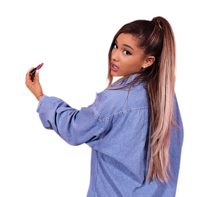 Ariana Grande in blue pullover PNG Image.