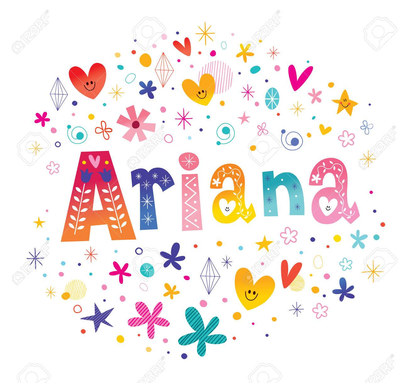 Ariana girls name decorative lettering type design.