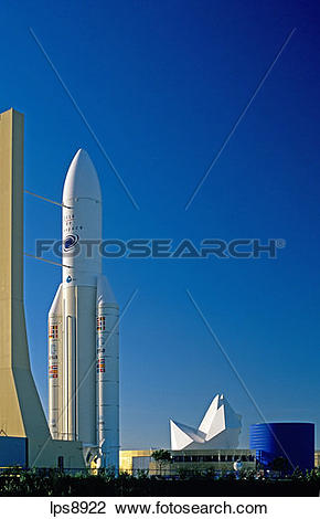 Stock Photo of ariane 5 satellite launcher rocket at cite de l.
