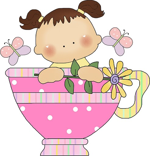 BABY GIRL IN TEA CUP CLIP ART.
