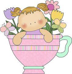 BABY GIRL IN TEA CUP CLIP ART.
