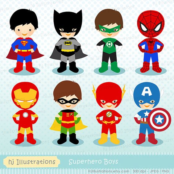 Superhero Clipart Superhero Digital Clipart by hjIllustrations.