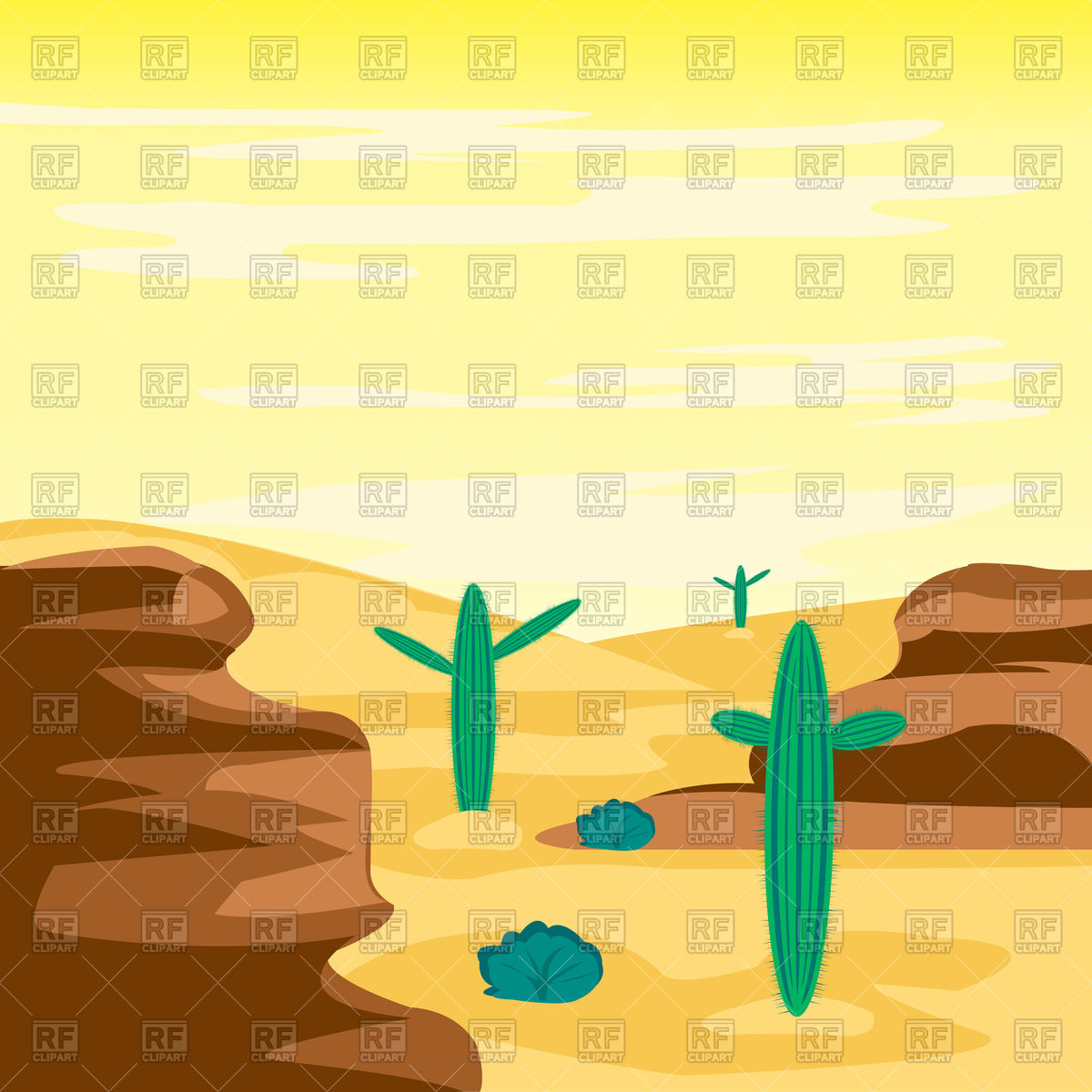 Arid desert and cactus Vector Image #91854.