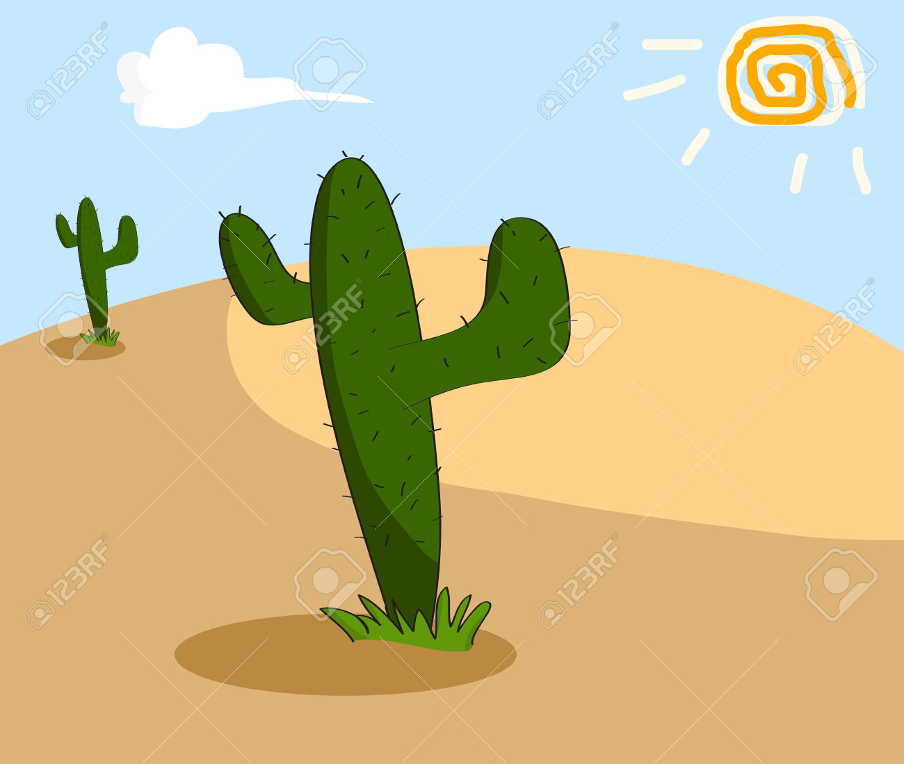 Cactus Grows In The Arid Desert Royalty Free Cliparts, Vectors.