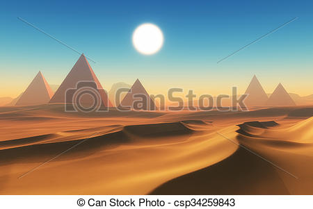 Drawing of 3D desert scene with pyramids.