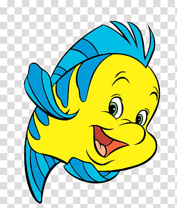 Disney Ariel, Disney Flounder illustration transparent.