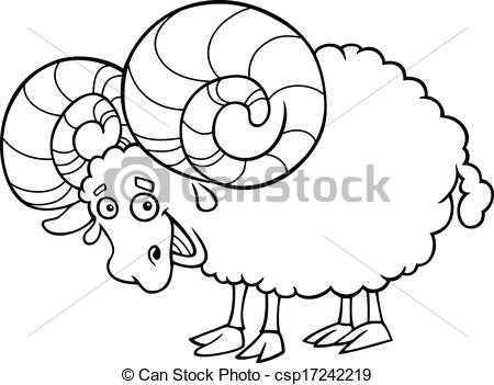 Vector Clip Art of zodiac aries or ram coloring page.