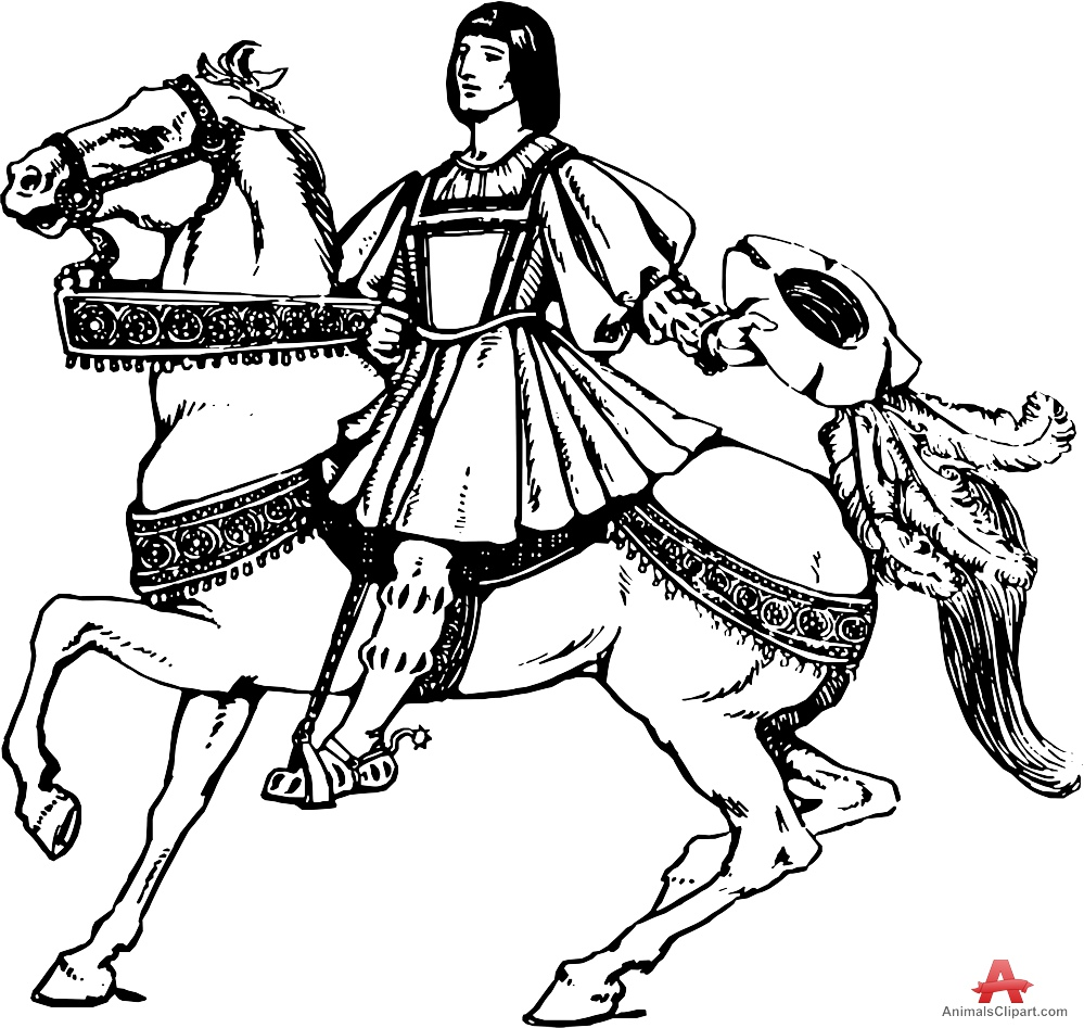 Aristocrat Person Riding Horse.