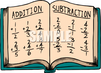 School Clip Art of an Open Arithmetic Book.