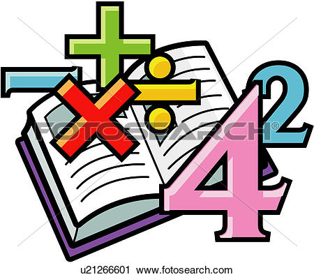 Clipart of calculation, arithmetic, math, numeral, book.