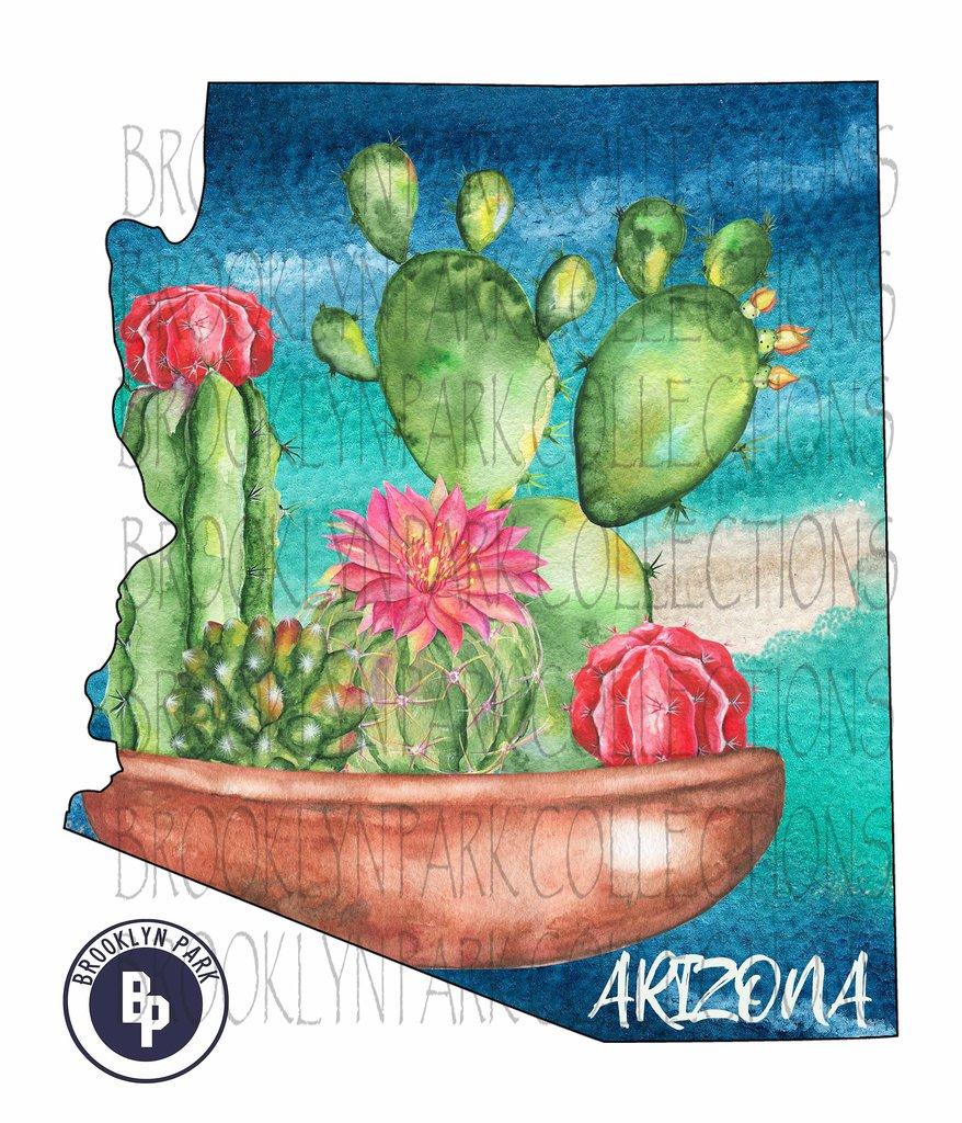 Arizona State Shape, Watercolor Cactus Floral Clip Art Instant Download  Sublimation PNG JPG.